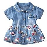 Longra Baby Kleider Mädchen Jeanskleider Kurzarm Sommerkleider mit Bowknot und Blumen Druckkleider Mädchen Denim Kleider Prinzessin Kleider Baby Mädchen Kleidung (Blue, 100cm 24Monate)