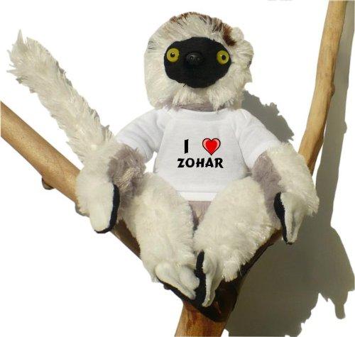 Sifaka Lemur Plüsch Spielzeug mit T-shirt mit Aufschrift Ich liebe Zohar (Vorname/Zuname/Spitzname)