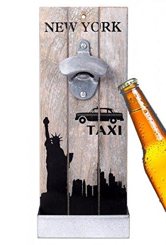 WELLGRO® Nostalgischer Wandflaschenöffner mit Auffangbehälter New York - Antik Look - Flaschenöffner - Bieröffner - Öffner - Männergeschenk - Kapselheber