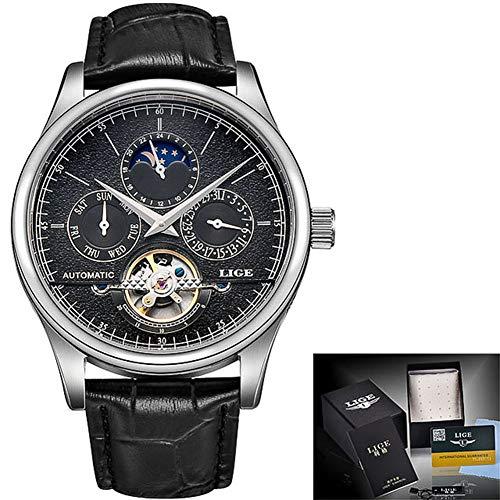 Herren Automatic Mechanical Uhr Uhren Luxuriöse Wasserdichte Armbanduhren für Männer mit Edelstahlarmband, Lederband, 24 Stunden/Woche/Kalenderanzeige
