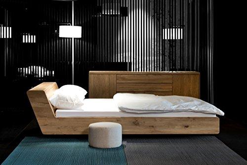 MAZZIVO LUGO Hochwertiges Holz Bett Schlicht & Zeitlos filigran Modern Edel & Elegant - Italienisches Design 120 140 160 180 200 Überlänge Eiche Erle Buche Esche Kirschbaum (Kirsche, 200 x 220 cm) -