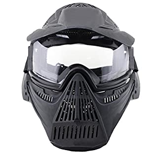 HTUK® Airsoft Pro Clear Mask Protective Mask Military Protection Paintball Halloween Costume (Black)