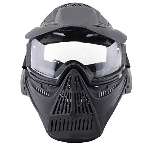 HTKU Schutzmaske Airsoft Pro Clear, Totenkopf, für das ganze Gesicht, Militär, Paintball, Halloween-Kostüm , Schwarz  (Paintball Kostüm)