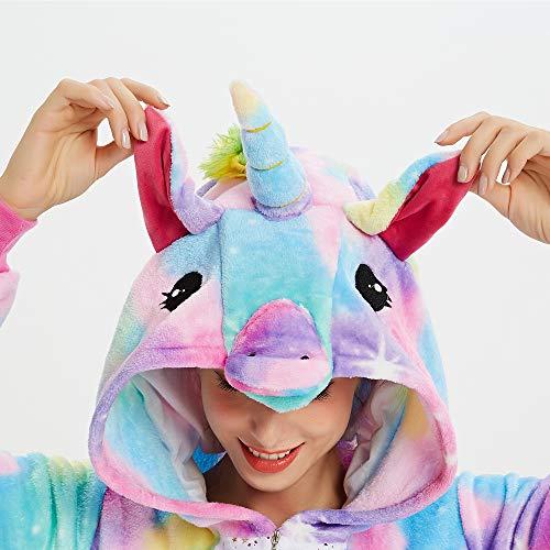 Süßes Einhorn Overalls Jumpsuits Pyjama Fleece Nachtwäsche Schlaflosigkeit Halloween Weihnachten Karneval Party Cosplay Kostüme für Unisex Kinder und Erwachsene (S, Stern Einhorn) - 6