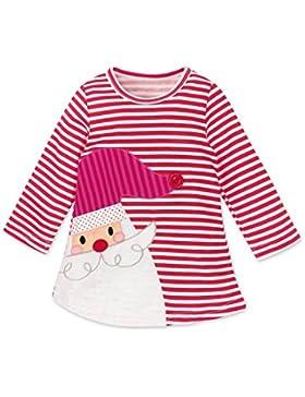 Hirolan Bekleidung Kids Baby Girls Santa Striped Princess Dress Toddler Christmas Outfits Clothes