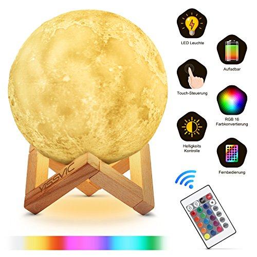 Mond Lampe Mondlicht 3D 15cm Mond Leuchte Dimmbar 16 Farbe Touch-Steuerung als Geschenk für Baby Kinder von Yissvic