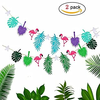 Hemore Flamingo Banners Set for Hawaiian Tropical Luna themed Party Room Decoration Summer Beach Party Supplies 2 PCS