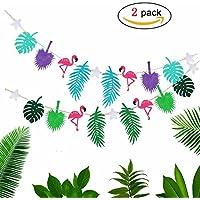Flamenco Guirnalda para Hawaii Luau Fiesta con 2 juegos la Pancarta Plantas Tropical Decoracion de Verano Selva Playa
