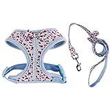 Homyl Verstellbar Rückseite Clip Hundegeschirr Welpengeschirr Softgeschirr Brustgeschirr mit Leine - Blau, XS