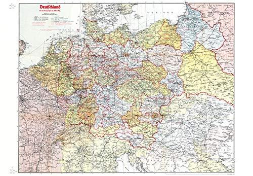 Historische Karte: DEUTSCHLAND (Großdeutsche Reich) mit Gaugrenzen 1942 (Plano)