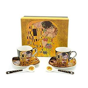 Gustav Klimt Kunst 'The Kiss' Porzellan Espressotasse Set (Schwarzes Design) (2er Set) mit 2 Löffeln, 2 Unterteller