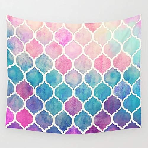 Tapiz para Colgar en la Pared, diseño marroquí de Acuarela de arcoíris Pastel, para Sala de Estar, Dormitorio, decoración de 80 x 60 Pulgadas