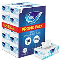 Fine Sterilized Facial Tissues, Classic, 150 x 2 Ply White Tissues, Pack of 10
