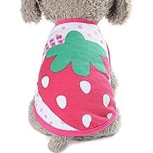 Mascotas perro Ropa,Switchali Linda Perro Verano Mascota Perrito Clásico Chaleco moda Camisa Pequeña Perro Mascota Chaleco lindo Ropa Gato Dibujos animados Vestido suave cómodo T-shirt barato (X-Small, fresa)