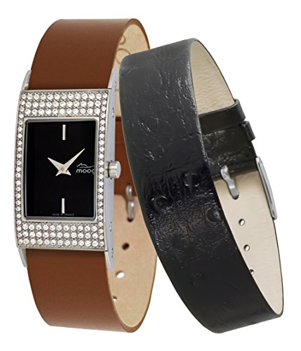 Moog Paris Vogue Women's Watch with Black Dial, Brown Genuine Leather Strap & Swarovski Elements - M44262-402