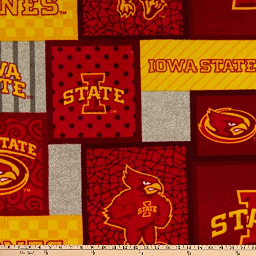 Sykel Enterprises 0669395 NCAA Iowa State Cyclones College Patch Fleece Fabric Stoff, Textil, Red, Yellow, Gray, By The Yard -