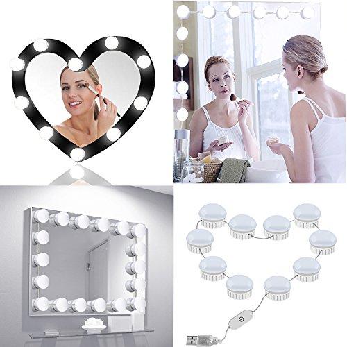 10 Bombillas Luces de Espejo de Tocador Hollywood HQQNUO Luces Para Espejo 4.8M LED Kit De Luces Para Maquillaje Cosmético IP66 Conector USB para Baño,Dormitorio,Sala de Maquillaje,Vestuarios Sin Espejo