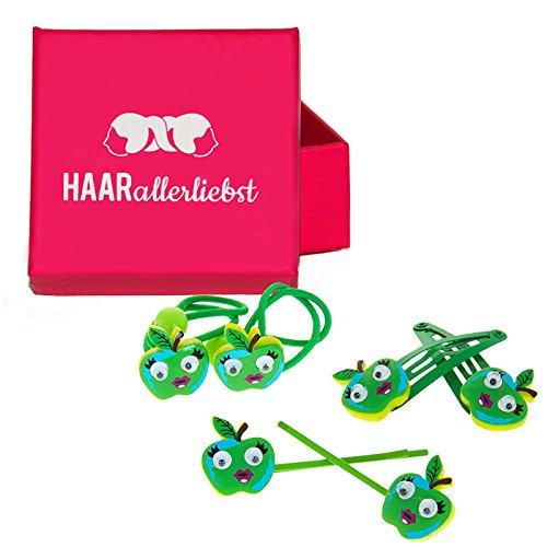 HAARallerliebst Haarschmuck Set (6 teilig | grüne Äpfel mit Kulleraugen | ) für Kinder inkl....