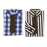 2pcs 1/12 Camiseta con Corbata Miniatura Accesorio Decorativo para Casa de Muñecas