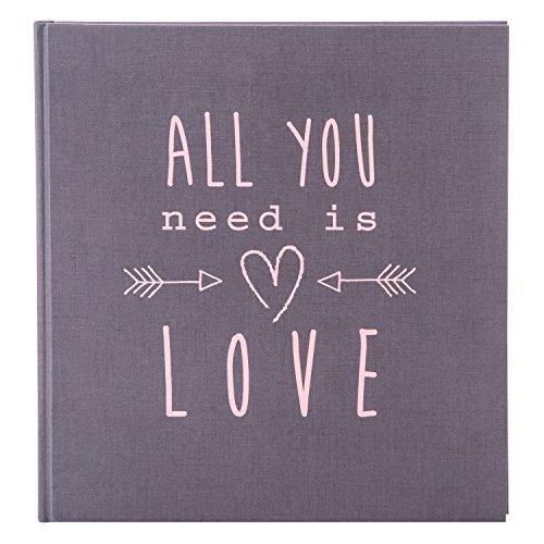 Goldbuch Hochzeitsalbum, All You Need is Love, 30 x 31 cm, 60 weiße Seiten mit Pergamin-Trennblättern, Leinenstruktur, Grau, 27085