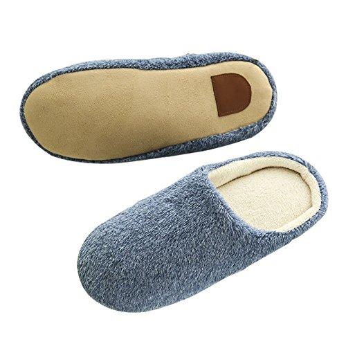 SAGUARO® Erwachsene Plüsch Hausschuhe Winter Wärme Indoor Pantoffeln Home Rutschfeste Weiche Leicht Baumwolle Slippers für Herren Damen Dunkelblau