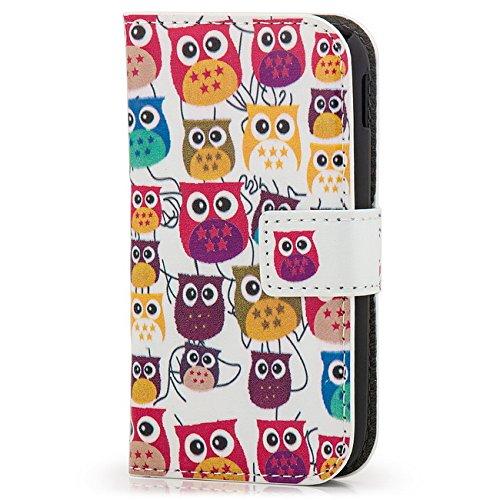 Saxonia Samsung Galaxy Ace 2 Custodia Flip Case Cover con Motivo Owl (Gufo)
