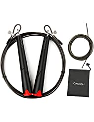 Cuerda de salto de alta velocidad con 1 cable de repuesto rojo para hombres y mujeres - Cpokoh Cable de acero recubierto para cardio rápido y entrenamiento de resistencia-Totalmente ajustable y adecuado para niños, atletas profesionales, MMA, Crossfit, Boxeo (Negro)