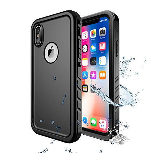 Wigoo Cover Subacquea iPhone X/XS, Custodia Impermeabile iPhone X/XS, IP68 Certificato Waterproof Cover Slim Subacquea Caso Full Protezione Custodia Protettiva per Apple iPhone X/XS (Nero)