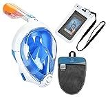 Advsea Tribord/subea easybreath Full Face Schnorchelset Maske mit mit Bonus Wasserdichte Handy-Schutzhülle und mehr, blau, S/M