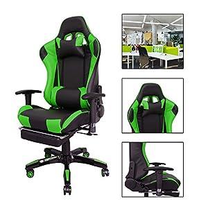 516zgCyd7xL. SS300  - HG-Silla-giratoria-de-oficina-Gaming-Chair-Premium-Apoyabrazos-tapizados-Comfort-Racing-Chair-Capacidad-de-carga-200-kg-Altura-ajustable-negro-verde