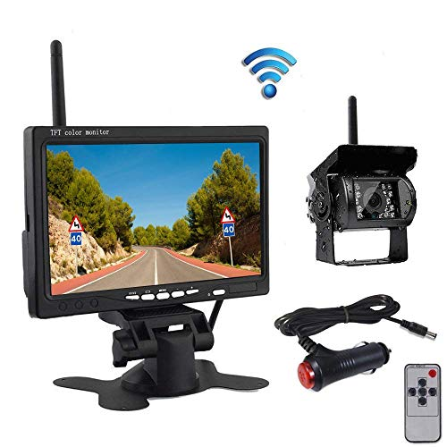 Drahtlose Auto Backup Kamera und Monitor Kitwasserdichte Nachtsicht Wireless Rückfahrkamera 7 Zoll HD TFT LCD Monitor Parksystem + Auto Ladegerät für 12V-24V LKW RV Anhänger Camper Bus