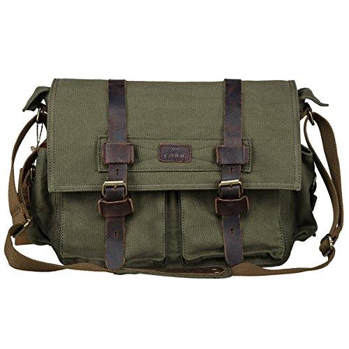 S-ZONE Borsa del computer portatile del rivestimento del cotone di rimozione del libretto del sacchetto del messaggero grande (verde) Verde dell'esercito
