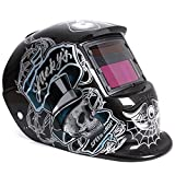 Cikuso mascara de soldadura automatica solar de casco en forma de arana - craneo negro