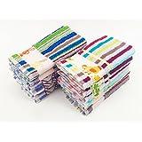 ZD Paños de Cocina RIZO 100% Algodón Multicolor Rayas Con Dibujo Bordado Pack 12 Toallas