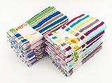 Frottee Geschirrtücher 100% Baumwolle mit Stickerei, mehrfarbig Streifen ,Pack 12