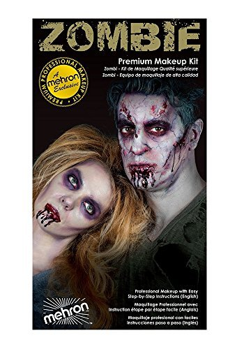 Special Effects Premium Zombie Apocalypse Makeup Kit By Mehron - Halloween SFX Make Up - Bruise Ring, Blood Gel, Flesh Liquid Latex & Colour Cup, Decayed Teeth, Brush, Foam Wedge, Wipes & Instructions (Zombie Make Up Kits)