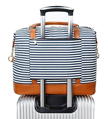 Damen Canvas Weekender Tasche über Nacht Tragetasche Duffel im Trolley Griff (Blau Streifen) (Blau Weekender)