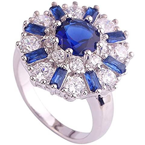 Clearbridal Blue Peridot & Amethyst & Garnet Gemstones 18K White Gold Plated Ring CA0019BL10