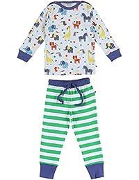 Piccalilly pijama de algodón orgánico azul y verde de jungla