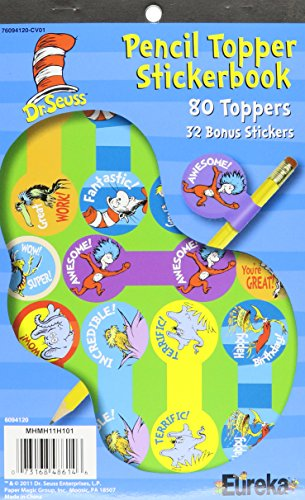 Eureka Dr. Seuss Pencil Toppers Stickers Sticker Book