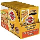 Pedigree Chicken &Vegetables Flavor in Wet Gravy for Adult Dogs, 100g (Pack of 12)
