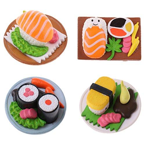 Homyl 4 Stück Miniaturen Japanisches Essen Sushi Küche Zubehör für 1:12 Puppenhaus Esstisch Deko Mini Sushi