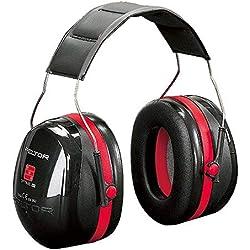 3M Peltor Optime III - Casque antibruit en serre-tête pliable - Pour milieu bruyant et stressant - Atténuation 35 dB - 1 x casque antibruit noir/rouge