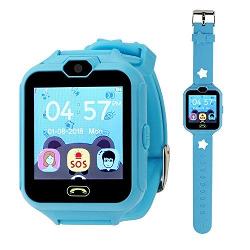 Reloj Smartwatch Niños Relojes Inteligentes Niños Teléfono Relojes de Juegos Inteligentes para Niños, Niños Juegos de Cámara SmartWatch Pantalla Táctil Juguetes Divertidos Relojes Regalos (Azul)