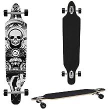 [pro.tec] Monopatín Longboard para el cruising en la ciudad y el parque - 104x23x9,5cm - Skateboard (negro, blanco con craneo)