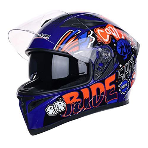 Qianliuk Doppel-Objektiv MotorradHelme cool personalisierte Sicherheit Motobike Helm Erwachsenen Motocross Helm