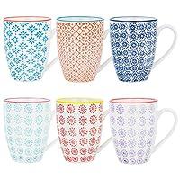 Nicola Spring Patterned Coffee Tea Mugs - 6 Individual Designs, 360ml (12.7oz) - Set of 6