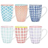 Nicola Spring Patterned Coffee Tea Mugs - 6 Individual Designs, 360ml (12.7oz) - Set of 6