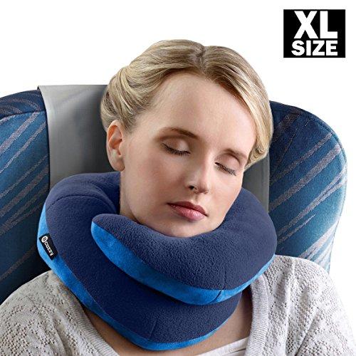 BCOZZY Oreiller de voyage pour le menton EXTRA-LARGE- Supporte la tête, le cou et le menton pour un confort maximal, quelle que soit la position assis...