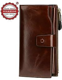 Itslife Women's RFID Blocking Large Capacity Luxury Wax Genuine Leather Cluth Wallet Ladies Card Holder (Coffee...